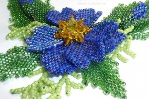 Фрагмент колье ''Синий цветок''