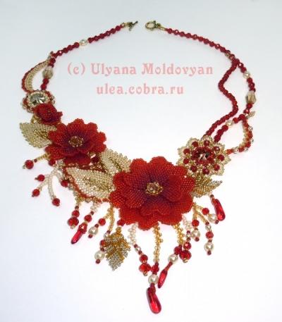 Ассиметричное колье 'Пламенные цветы'
