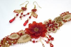 Браслет и серьги 'Пламенные цветы'