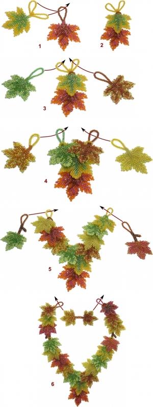 Схема сборки украшения из кленовых листьев